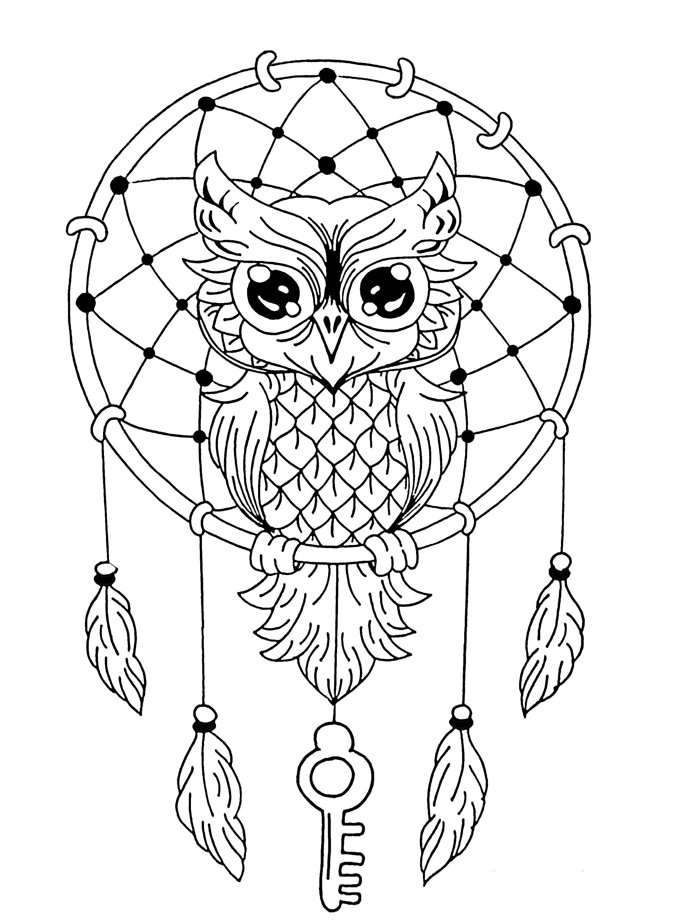 attrape reve hibou coloriage de hiboux coloriages pour enfants. Black Bedroom Furniture Sets. Home Design Ideas