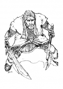 Coloriage hobbit nain thorin