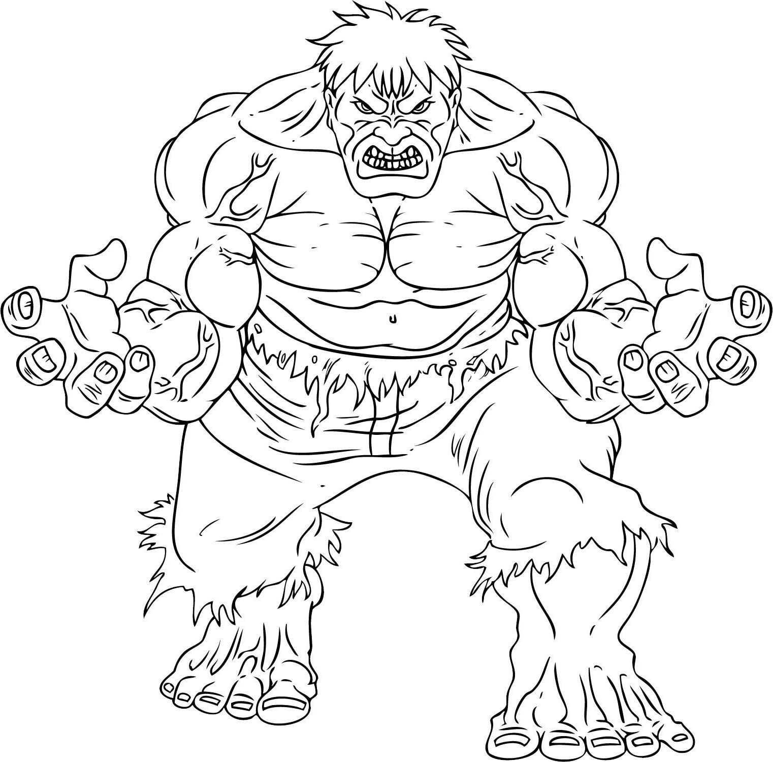 Simple coloriage de Hulk pour enfants