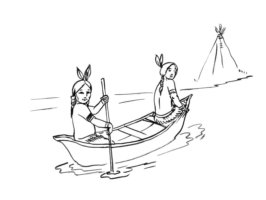Voici deux jolies indiennes à colorier dans un bateau