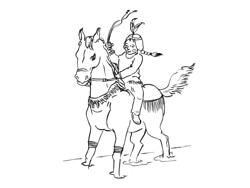 Coloriez cette jolie indienne sur son cheval