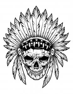 Coloriage chef indien squelette