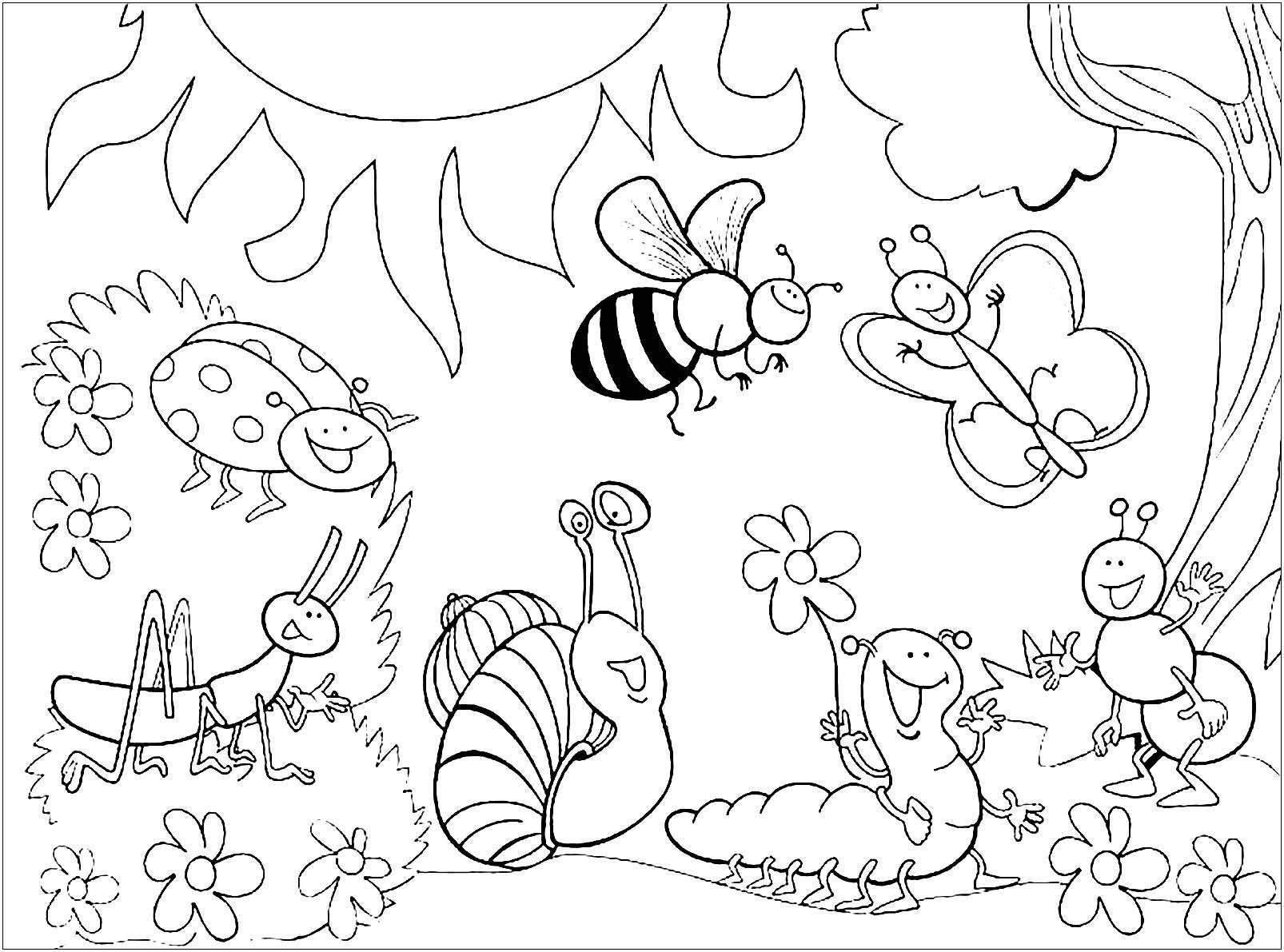 Nature Coloriage D Insectes Fourmis Araignees Abeilles Coloriages Pour Enfants