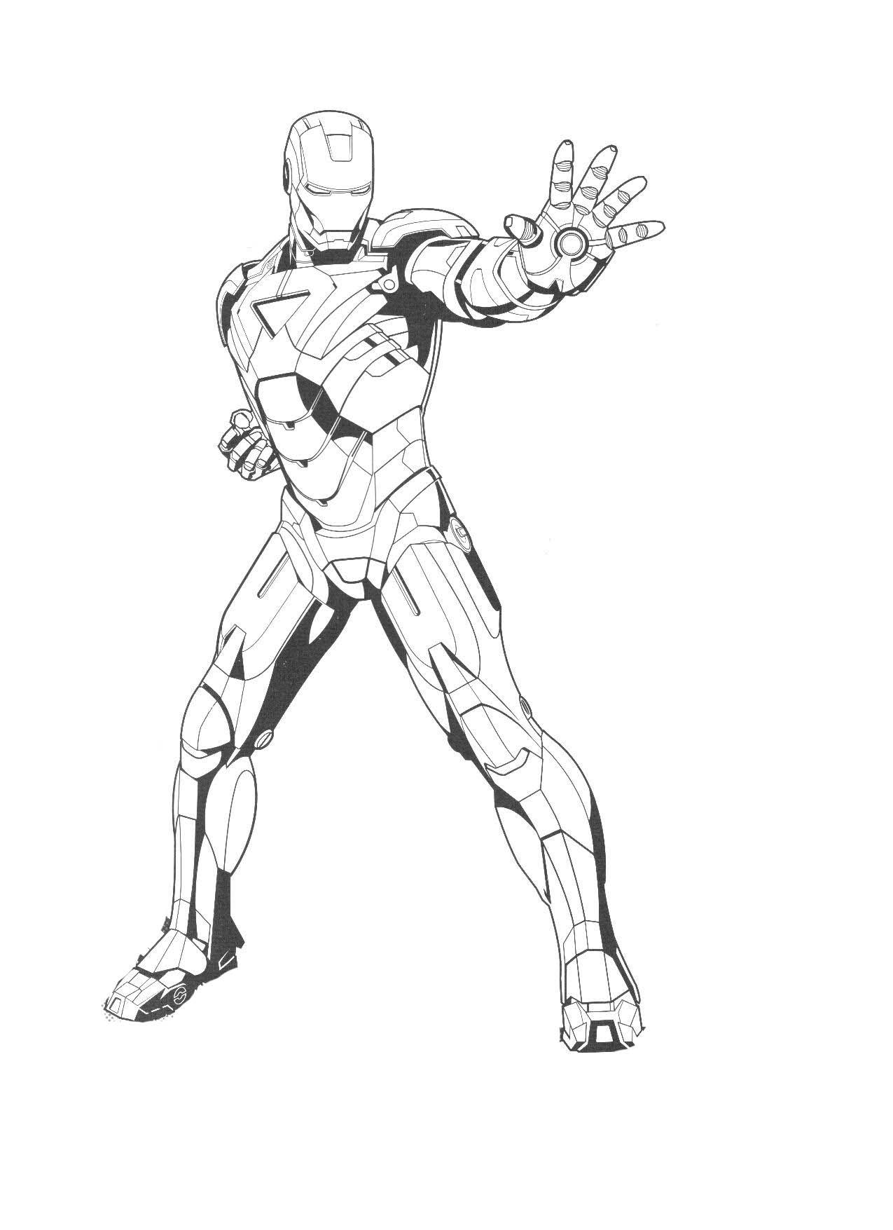 Coloriage d'Iron Man simple à réaliser