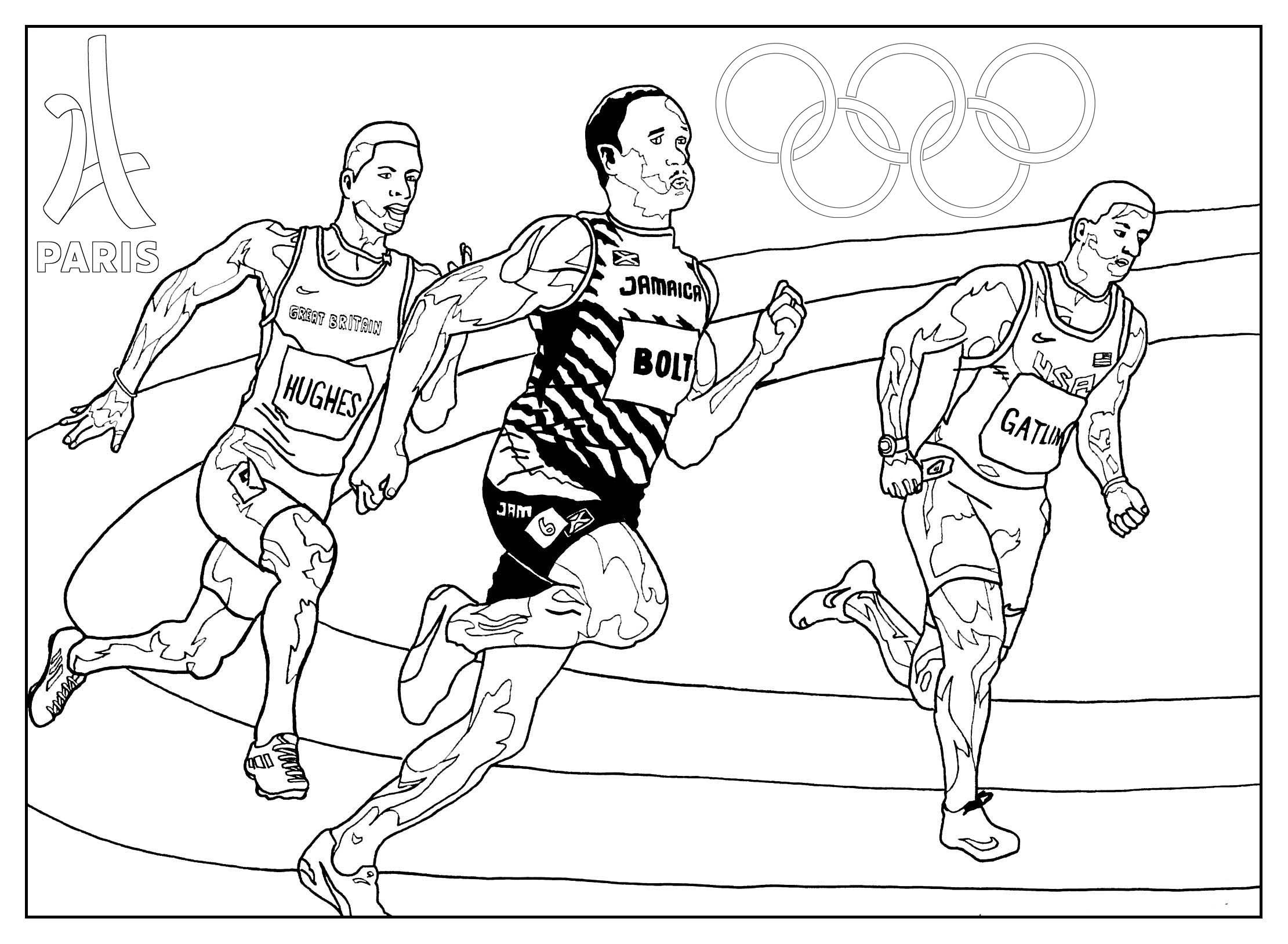 Coloriage Jeux Olympiques Paris 2024 : Athlétisme. Par Sofian