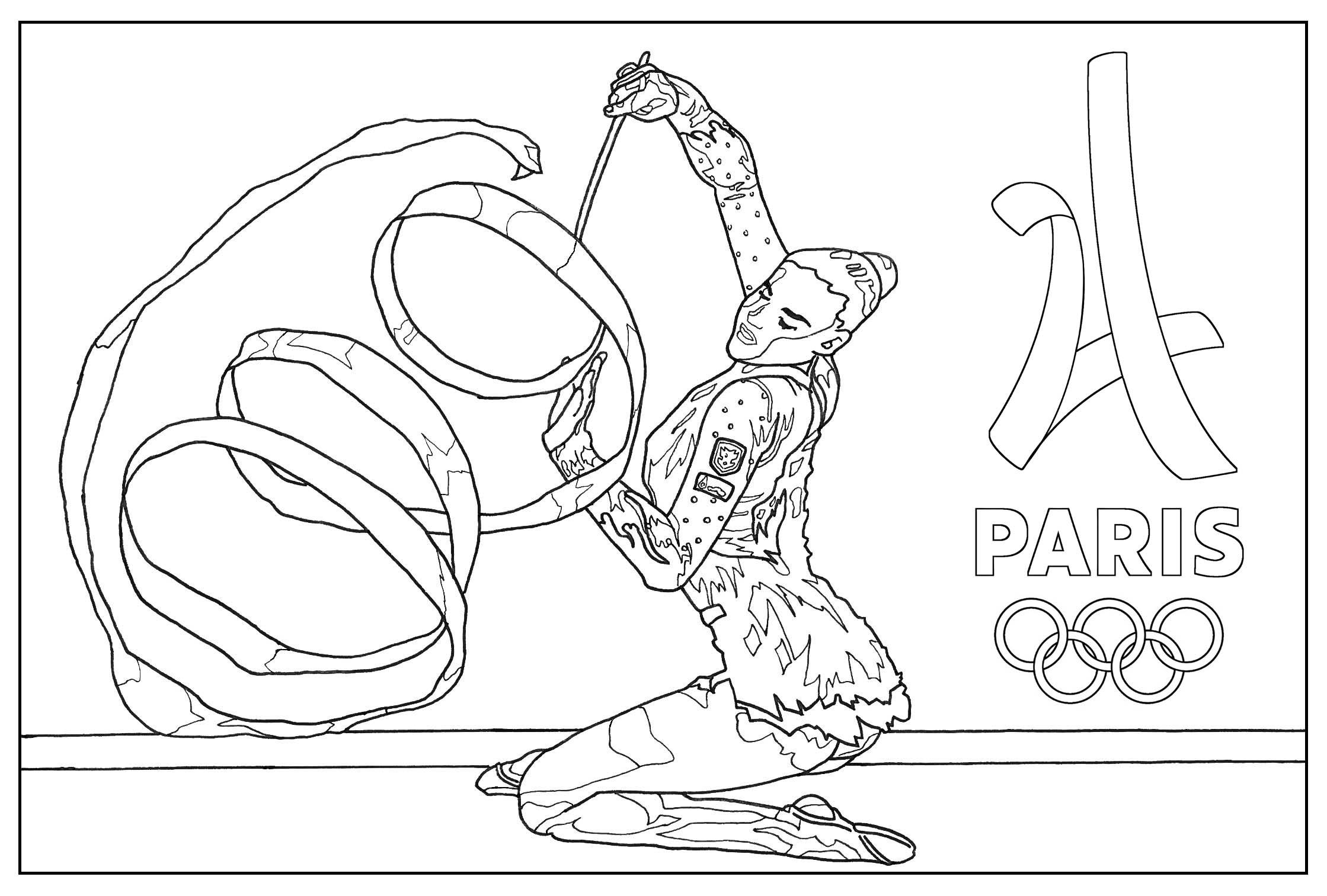 Coloriage Jeux Olympiques Paris 2024 : Gymnastique rythmique. Par Sofian