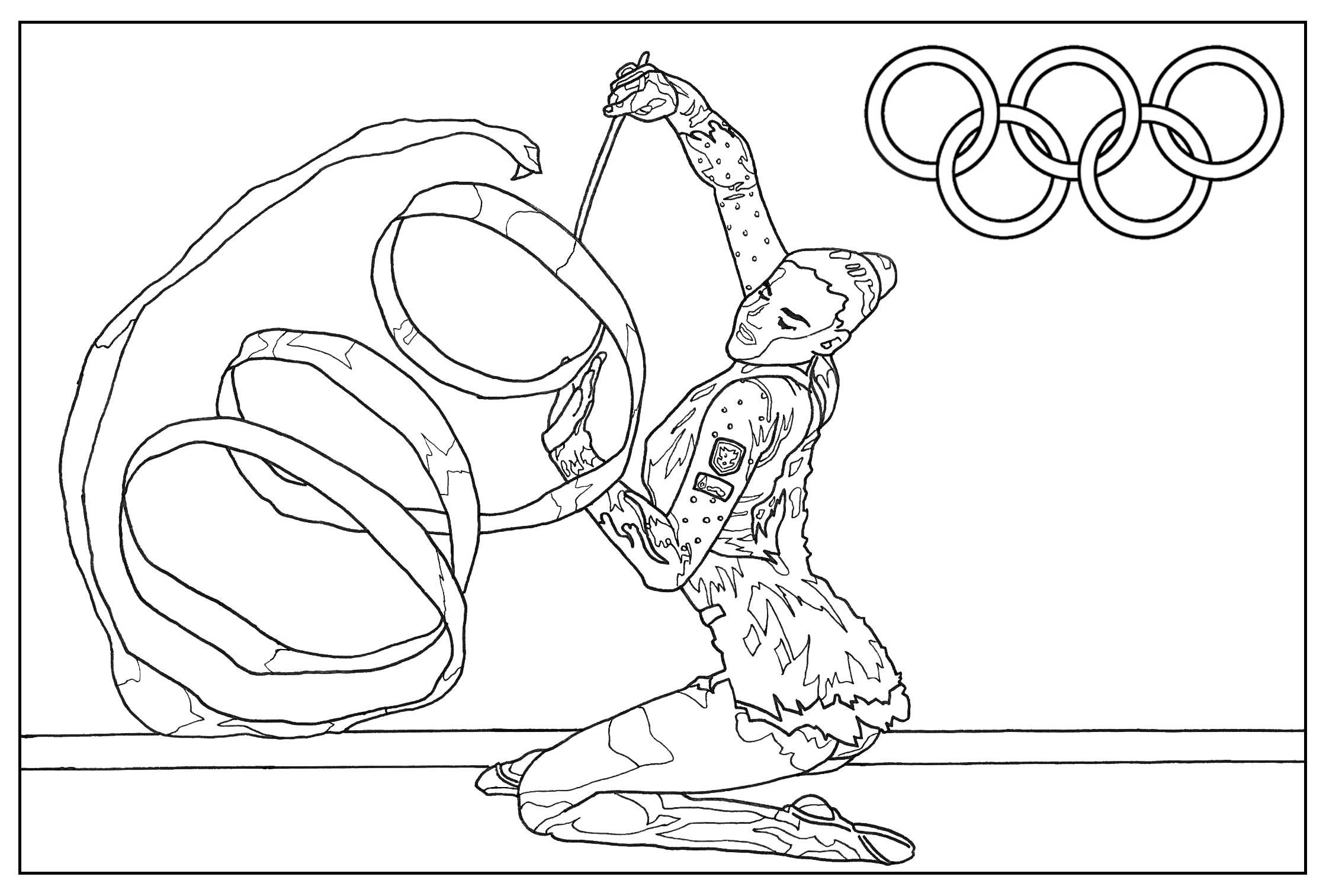 Coloriage Jeux Olympiques : Gymnastique rythmique. Par Sofian