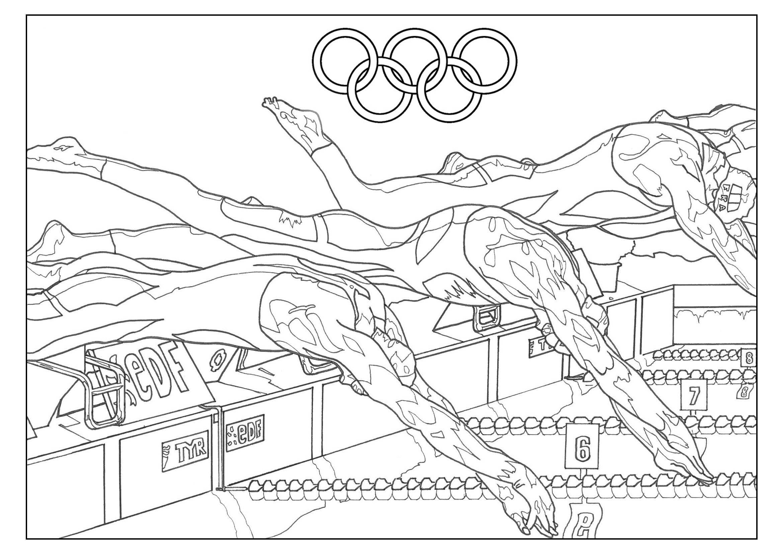 Coloriage Jeux Olympiques : Natation. Par Sofian