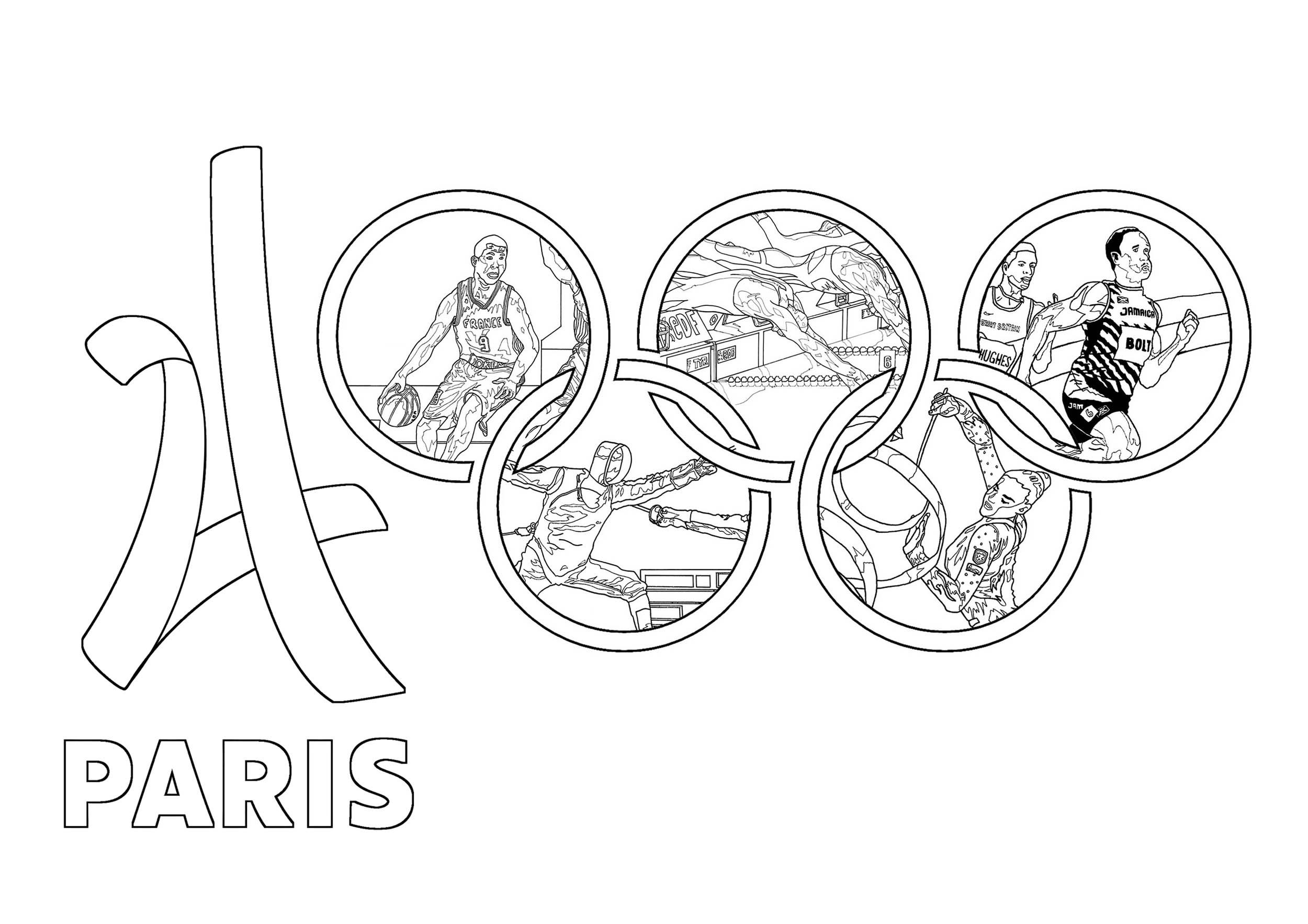 Coloriage réalisé pour les Jeux Olympiques d'été de 2014 à Paris : Logo officiel et divers sports intégrés dans les Anneaux olympiques