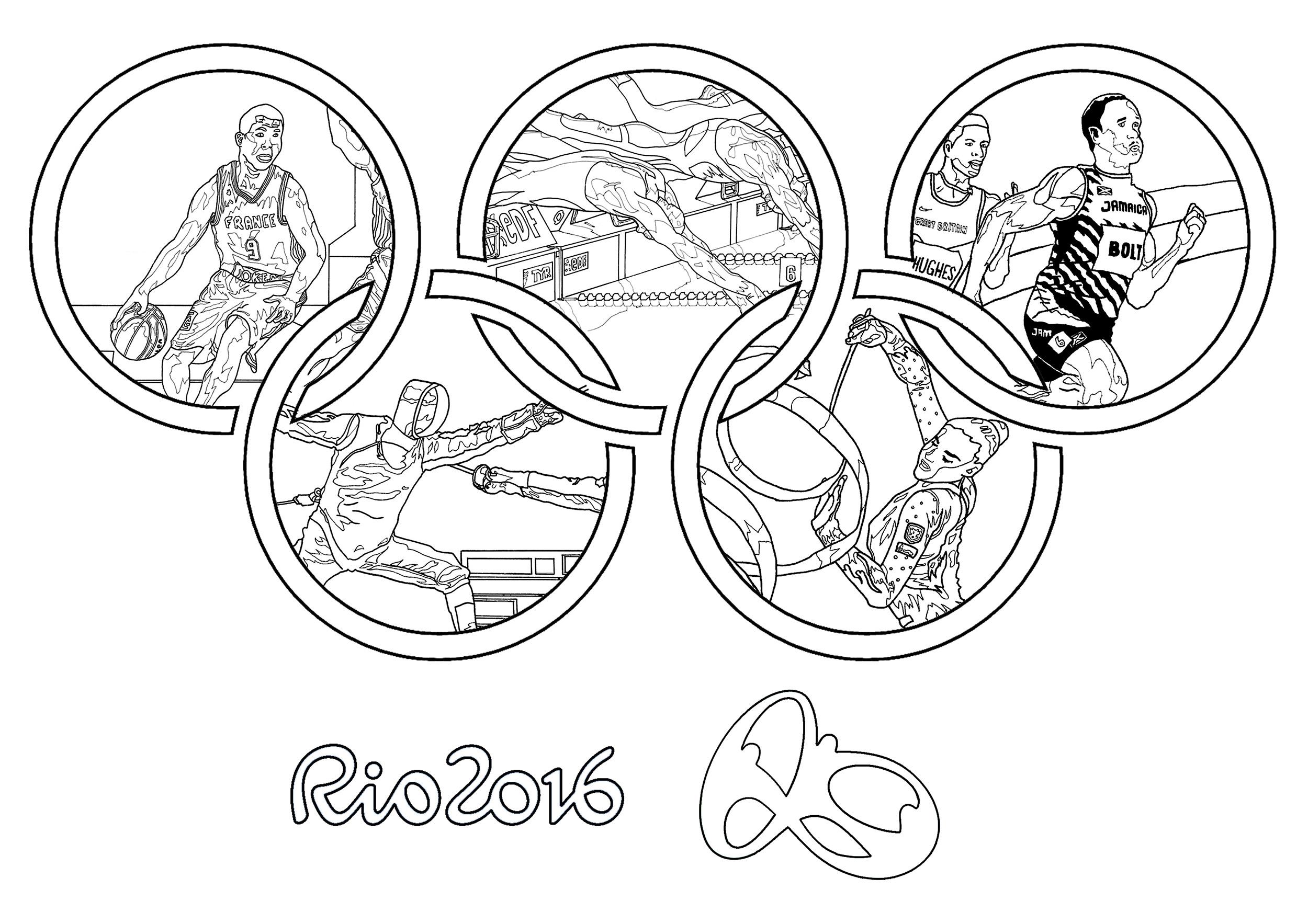 Jeux olympiques rio 2016 anneaux olympiques coloriage sur les jeux olympiqu - Anneau des jeux olympique ...