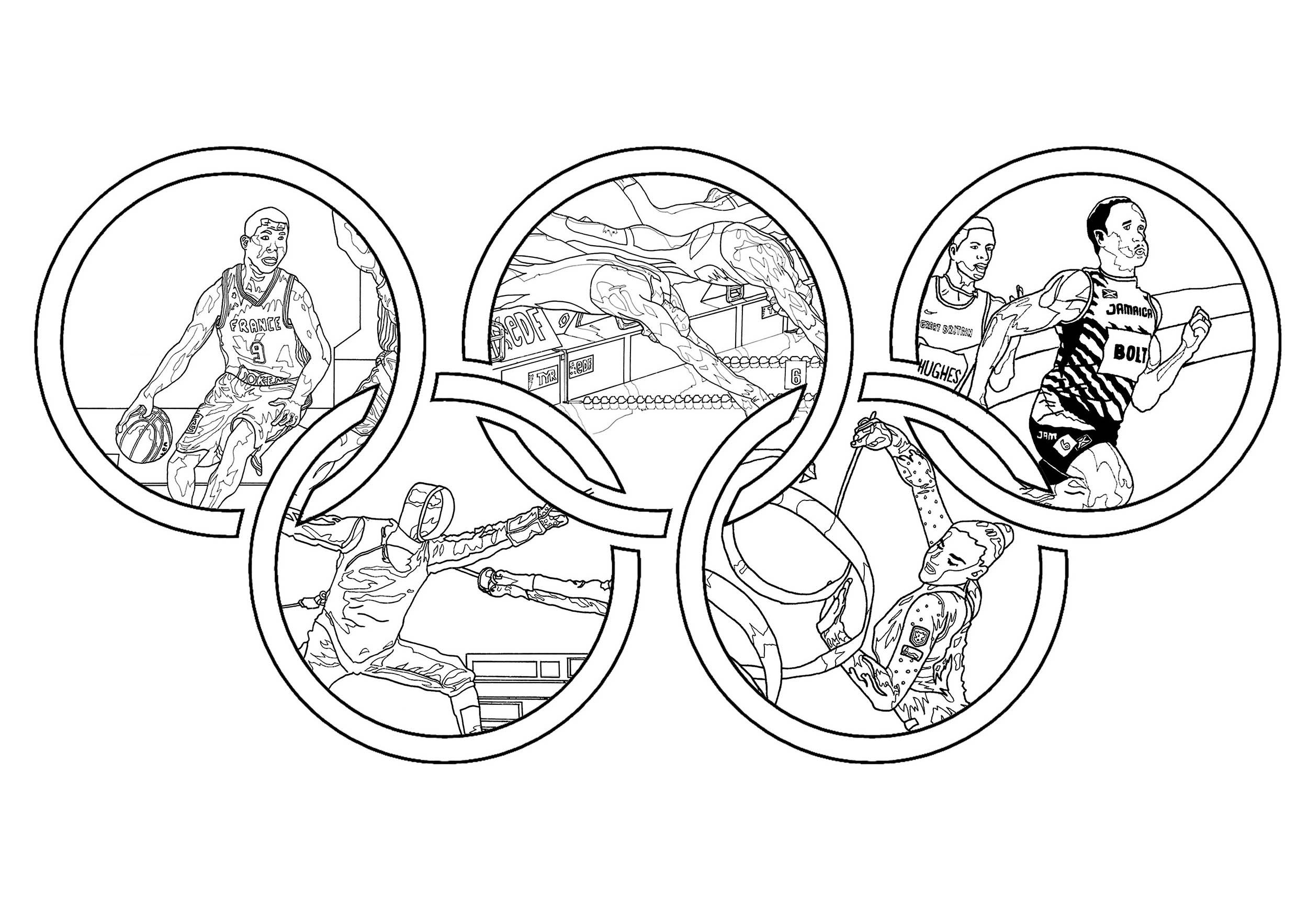 Coloriage Jeux Olympiques : Différents sports au sein des anneaux olympiques