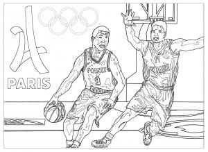Coloriage jeux olympiques basketball paris 2024
