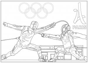 Coloriage jeux olympiques escrime paris 2024