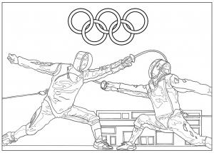 coloriage jeux olympiques escrime