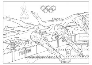 Coloriage jeux olympiques natation paris 2024