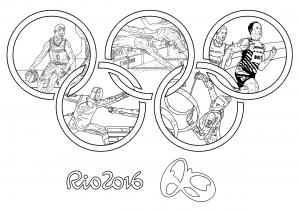 Coloriage jeux olympiques rio 2016 anneaux olympiques