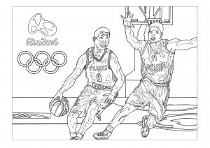 Coloriage jeux olympiques rio 2016 basket