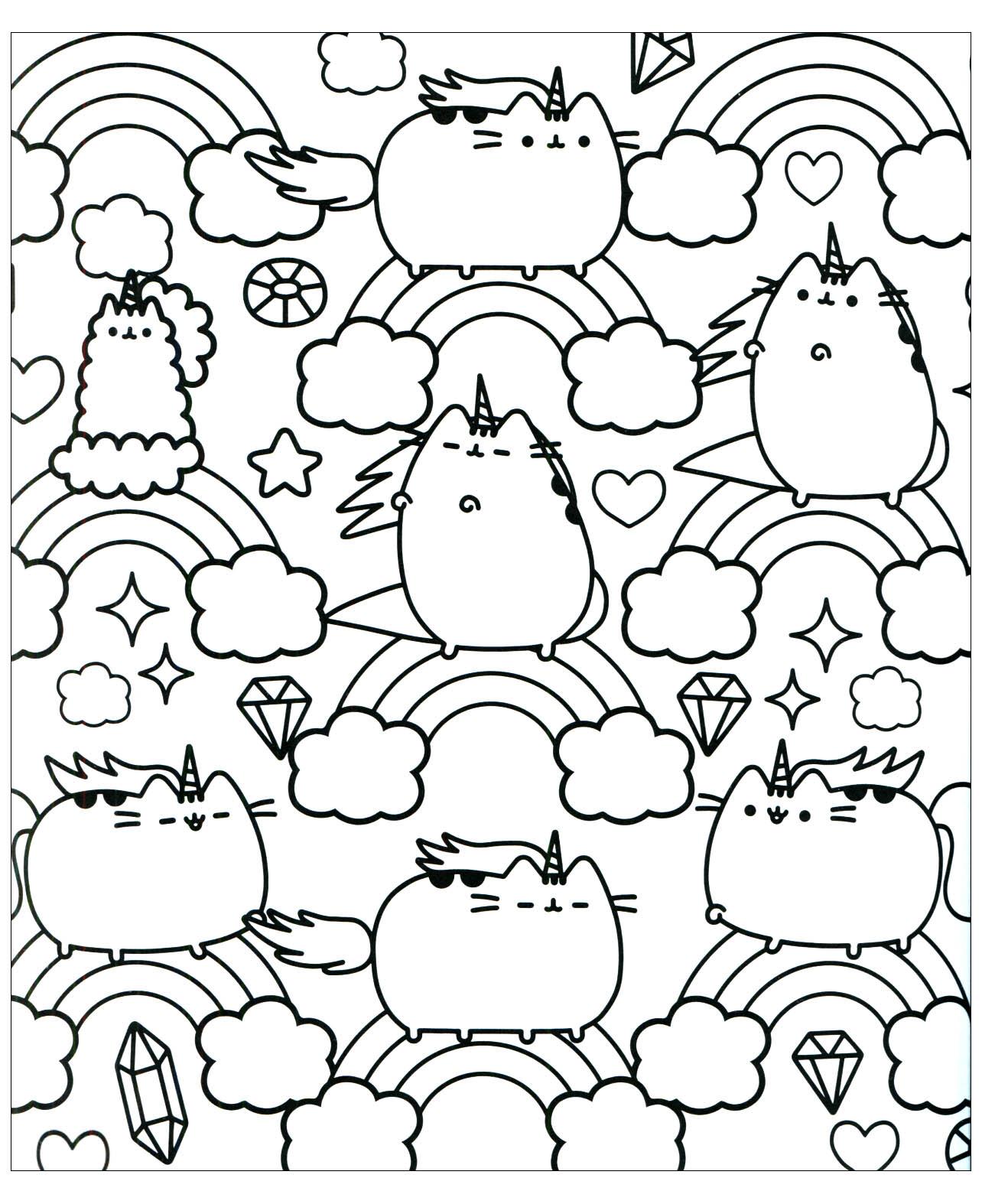 Chat Pusheen Et Arc En Ciel Coloriage Kawaii Coloriages Pour Enfants