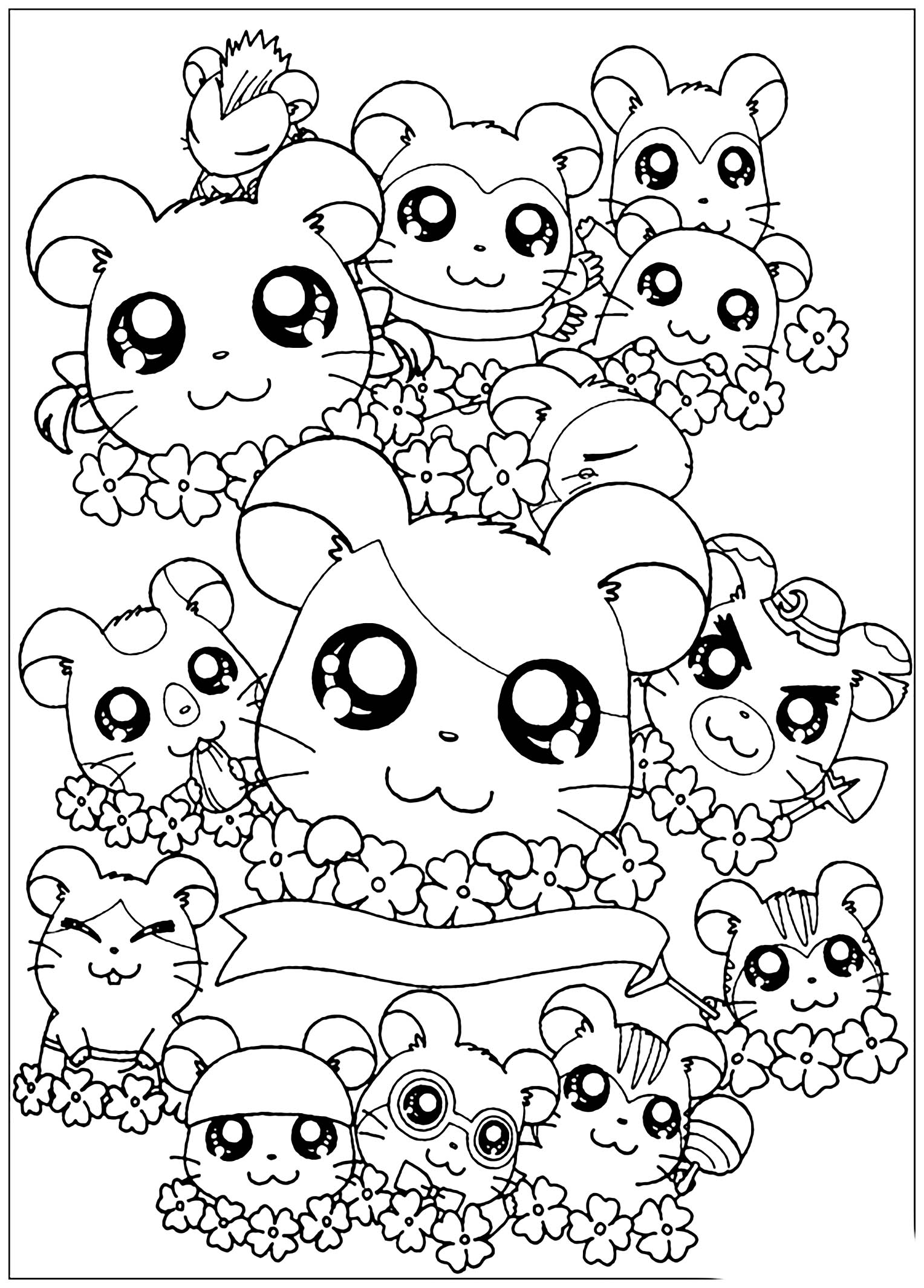 Coloriage Hamster Kawaii.Colorage Hamtoro Coloriage Kawaii Coloriages Pour Enfants