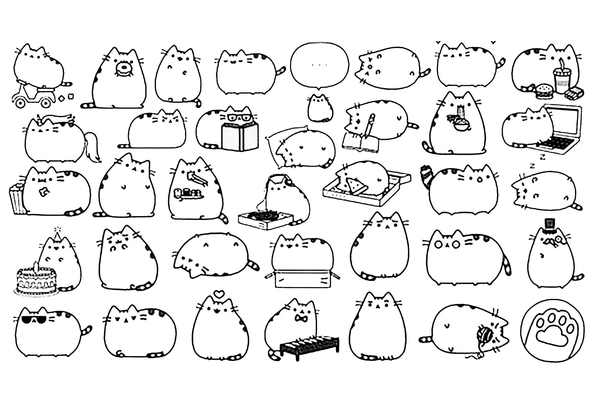 Chat pusheen coloriage kawaii coloriages pour enfants - Dessin de chat kawaii ...