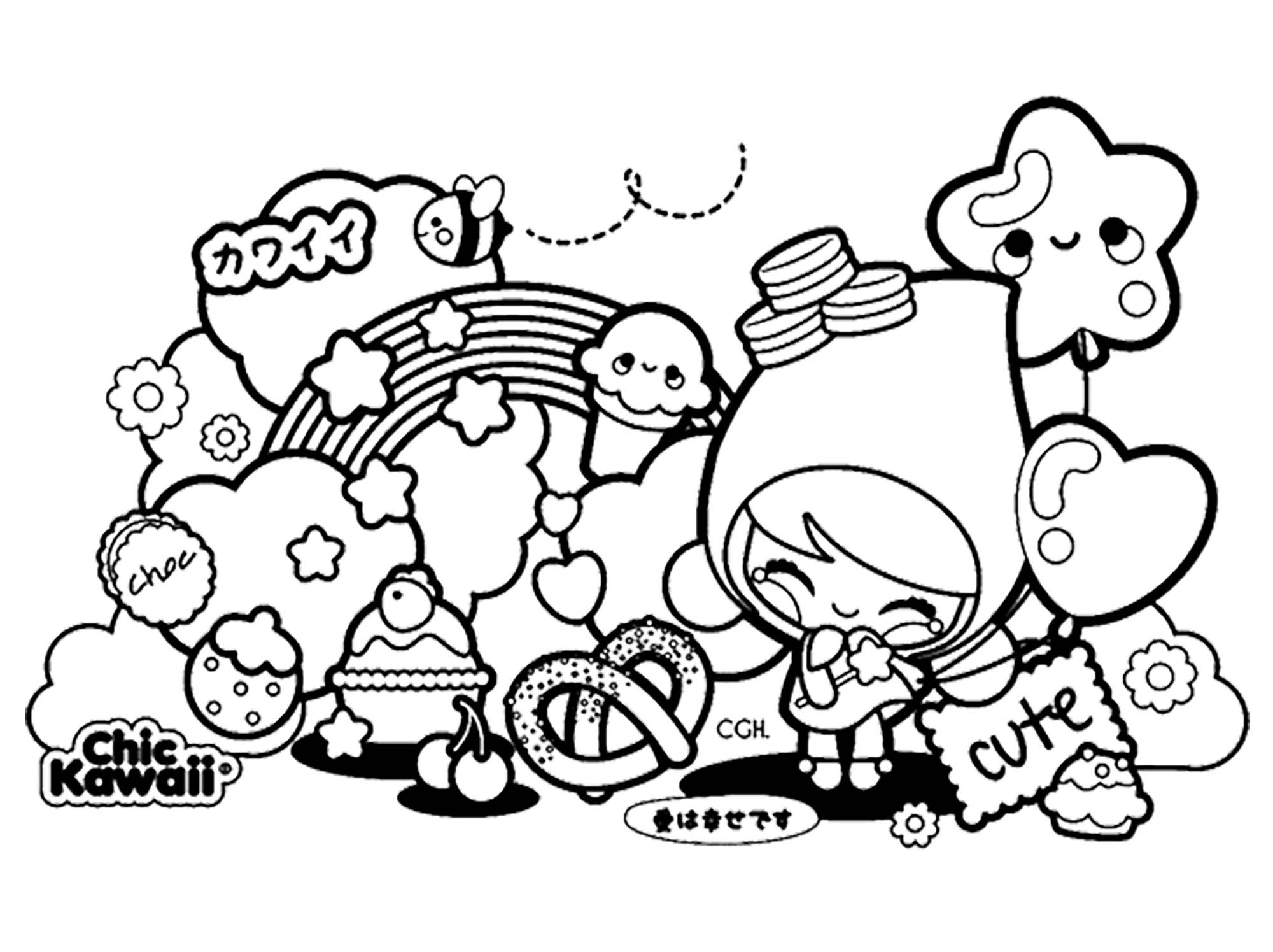 Chic Kawaii Mignonnes Creatures Coloriage Kawaii