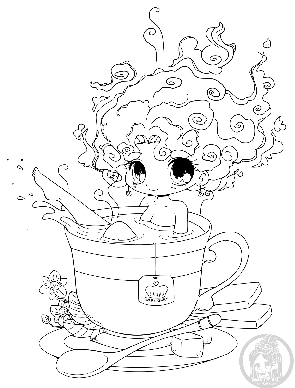 Bain de thé - Coloriage Kawaii - Coloriages pour enfants