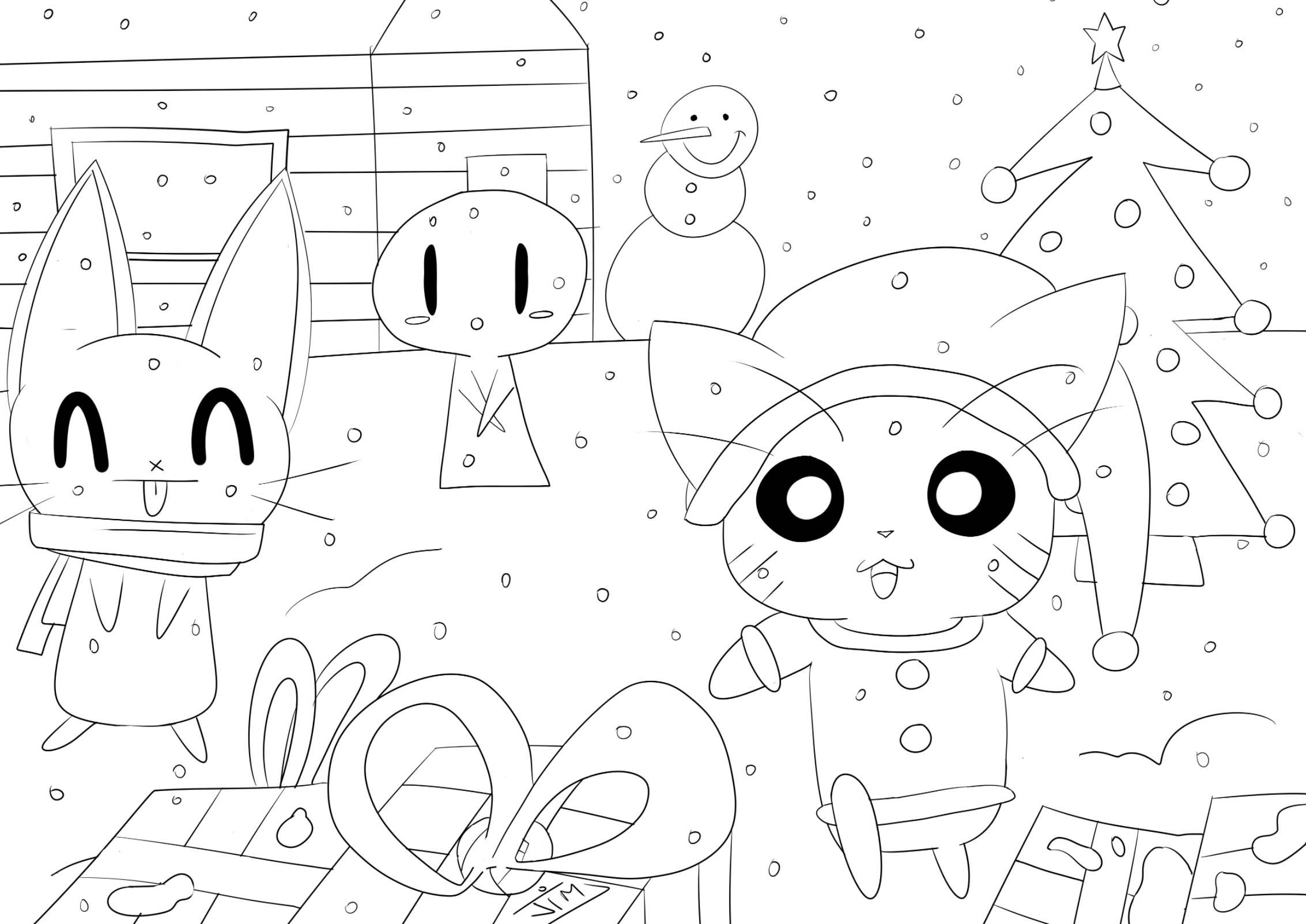 Kawaii Christmas Coloriage Kawaii Coloriages Pour Enfants