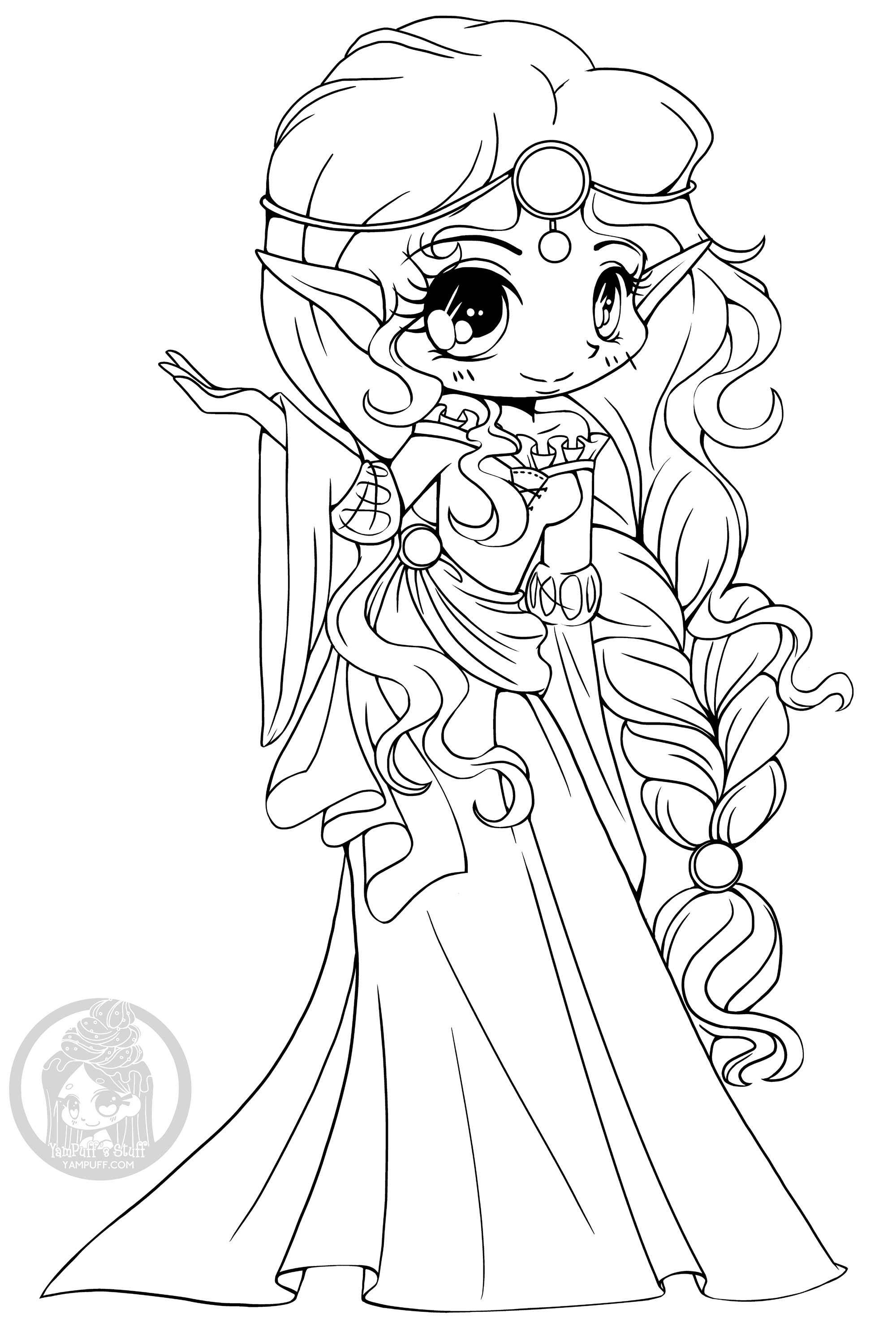 Princesse Elfe D Ecosse Coloriage Kawaii Coloriages Pour