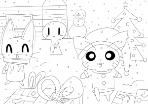 Coloriage kawaii christmas