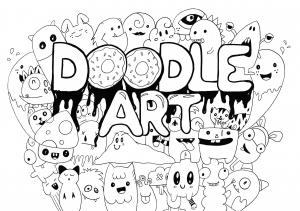 Coloriage kawaii doodle art