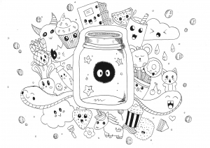 Coloriage kawaii doodle rachel