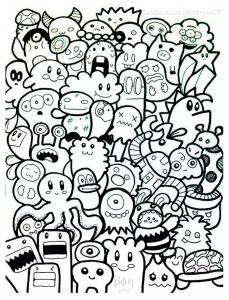 Coloriage kawaii droles de personnages