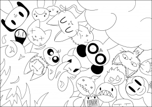 Coloriage kawaii paradis enfer jim