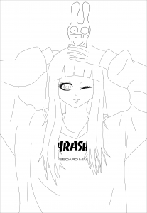 Coloriage kawaii thrasher girl jim
