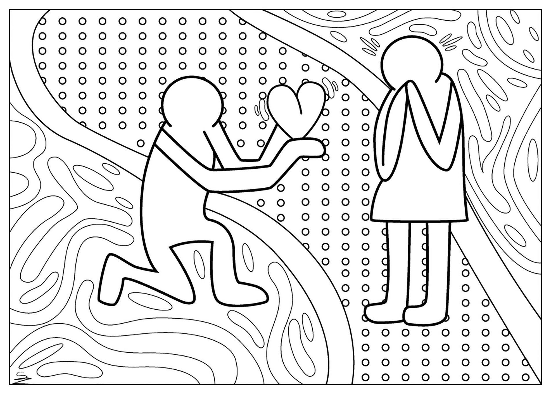 Coloriage inspiré par une oeuvre de Keith Haring