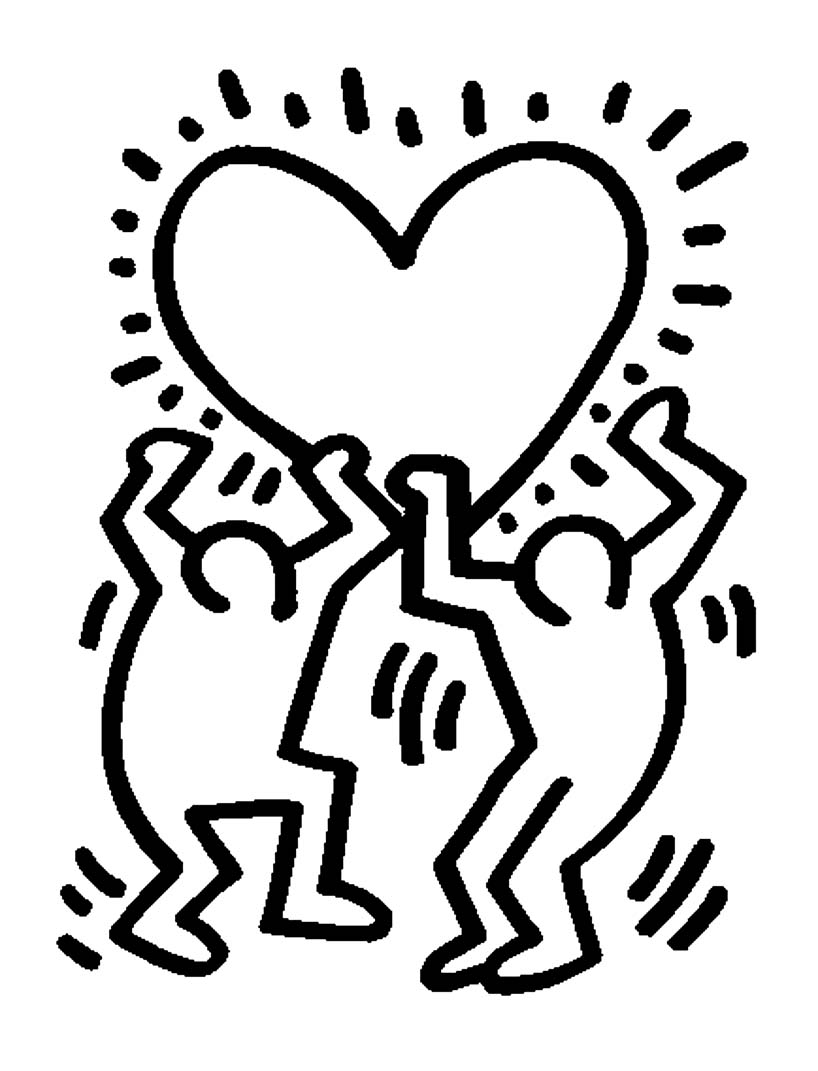 Loup keith haring coloriage maternelle for Keith haring figure templates