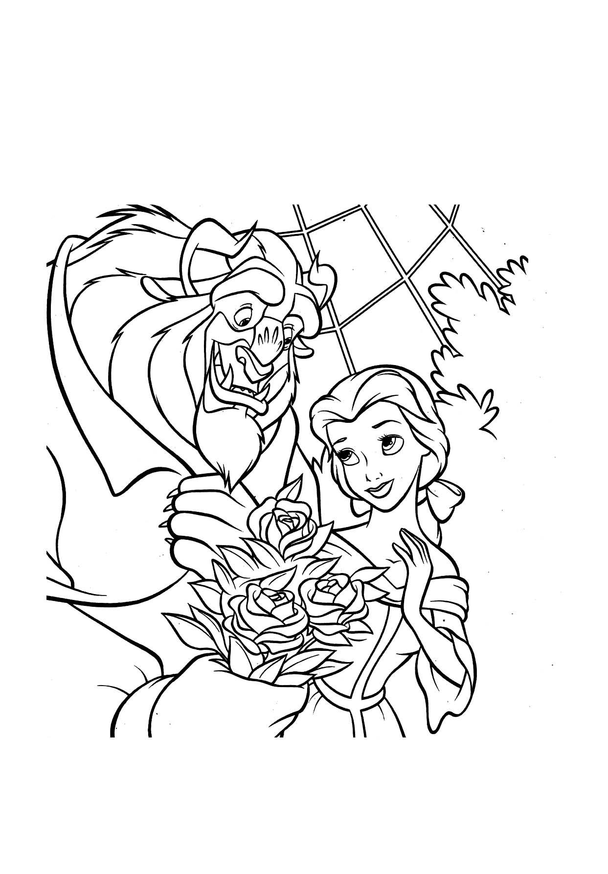 La Bête offre une rose à la bête