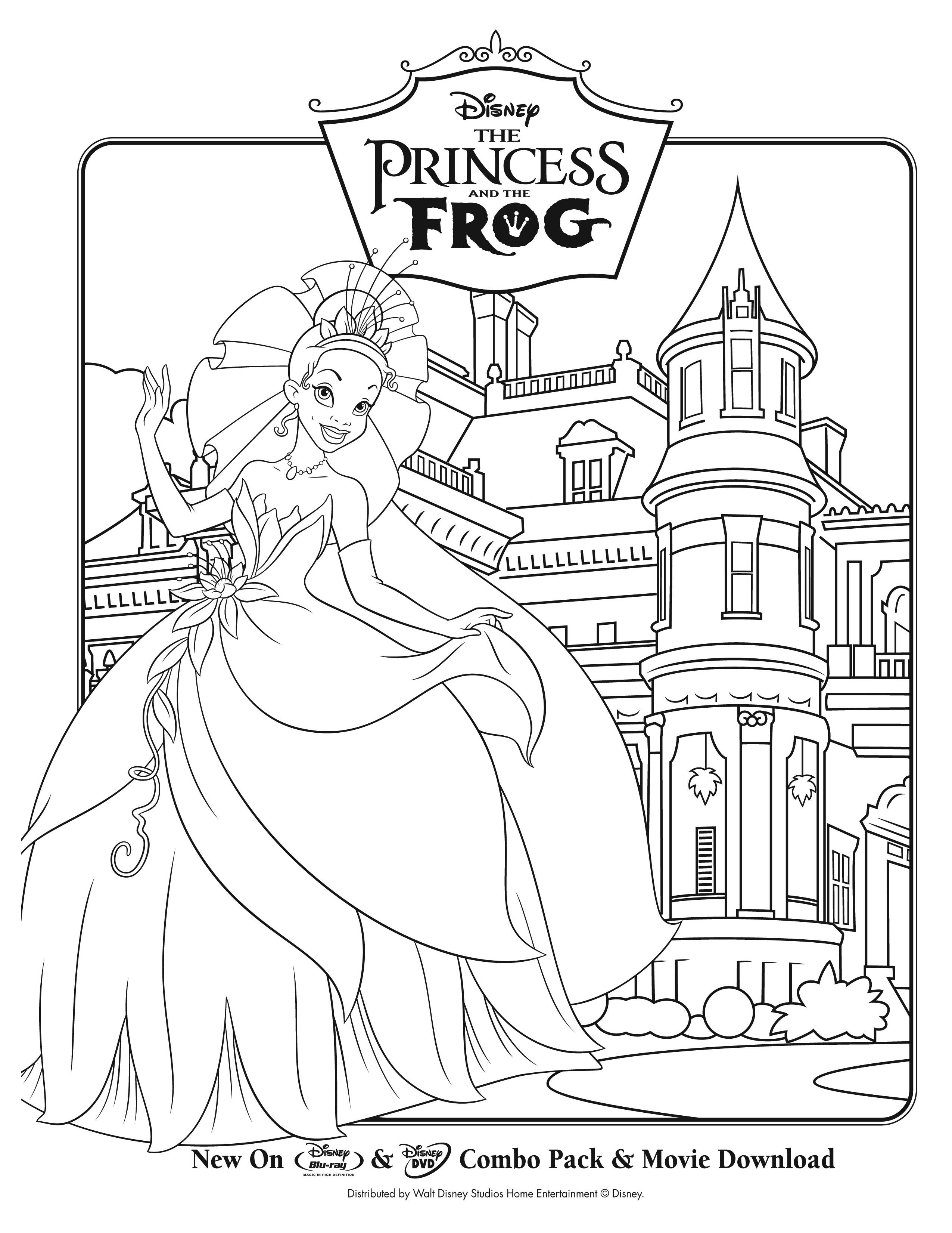 Princess grenouille 5 coloriage la princesse et la grenouille coloriages pour enfants - Coloriage magnifique ...