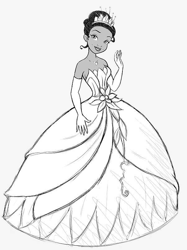 Princess grenouille 9 coloriage la princesse et la - Dessin de robe de princesse ...
