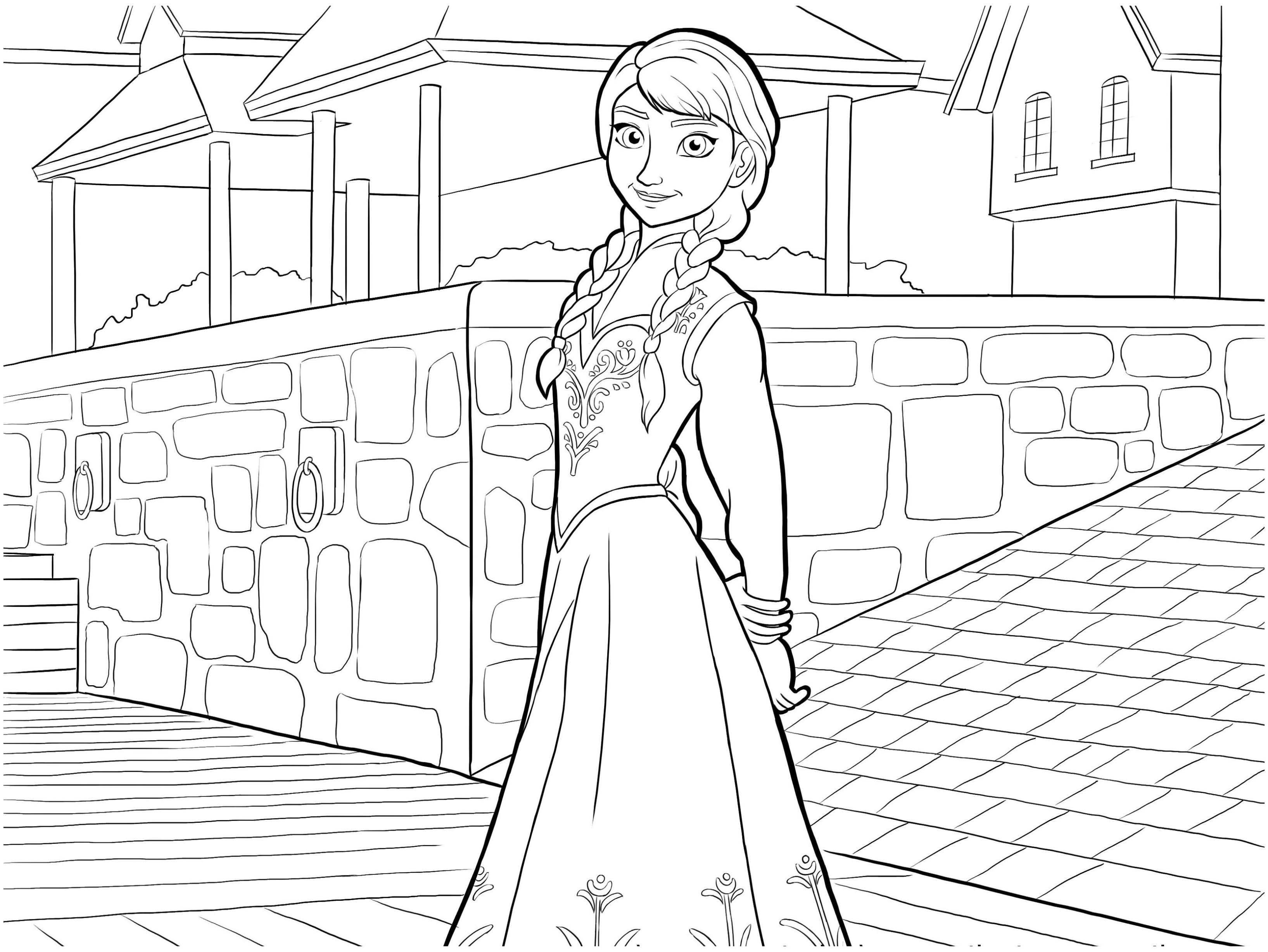 La reine des neiges anna coloriage la reine des neiges coloriages pour enfants page 2 - Coloriage princesse des neiges ...