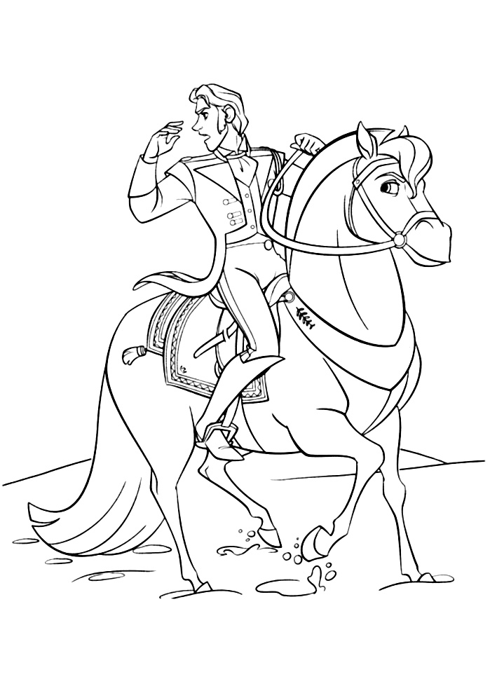 coloriage la reine des neiges hans cheval free to print
