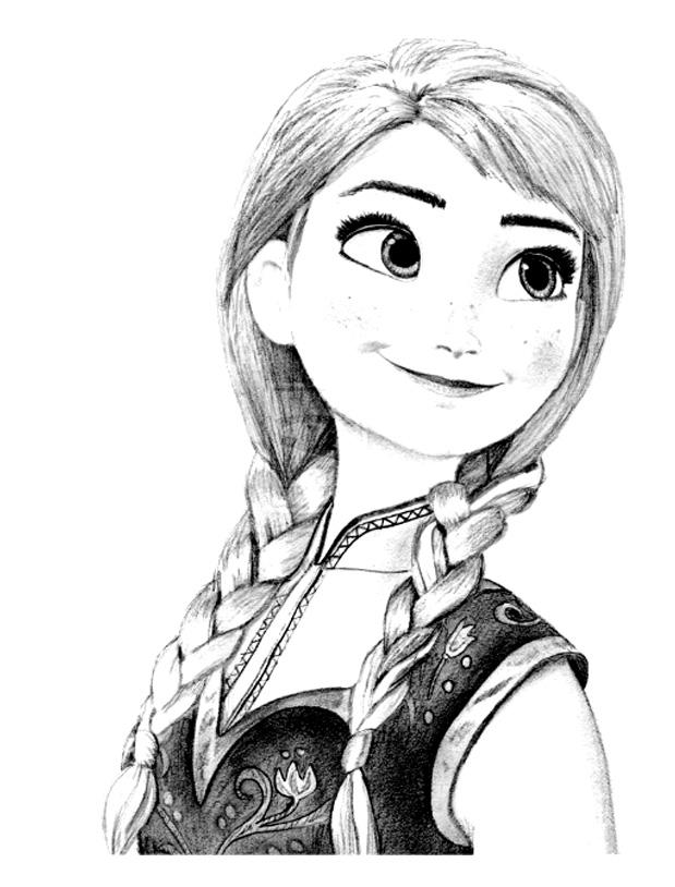 Reine neige anna dessin coloriage la reine des neiges coloriages pour enfants page 4 - Coloriage princesse facile ...