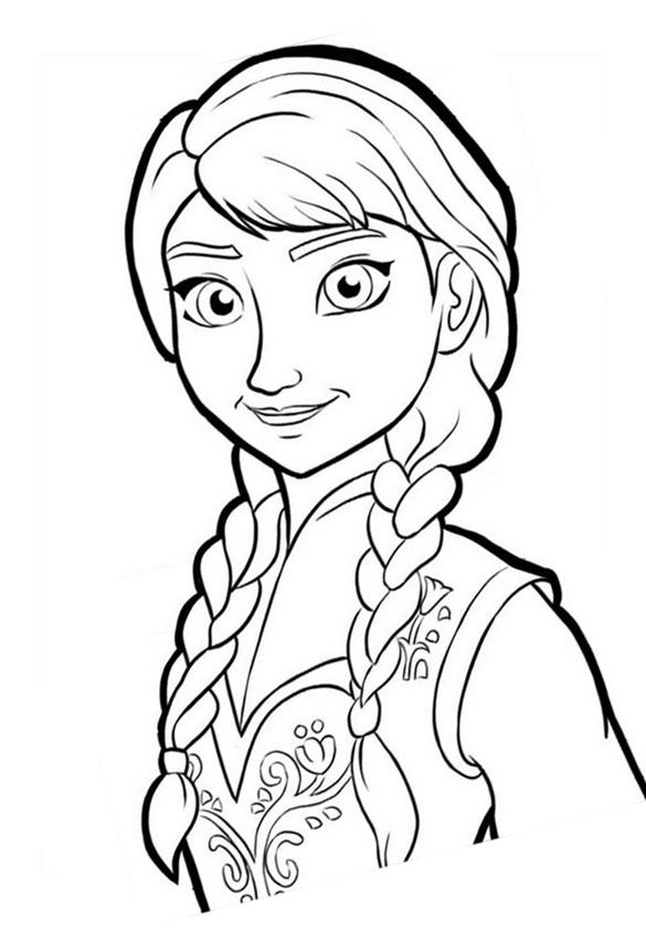 Reine neige disney anna portrait coloriage la reine des neiges coloriages pour enfants - Dessin de disney facile ...