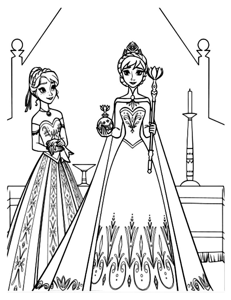 Reine neige disney soeurs coloriage la reine des neiges - Coloriage princesse des neiges ...