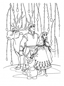 Coloriage la reine des neiges kristoff anna olaf sven
