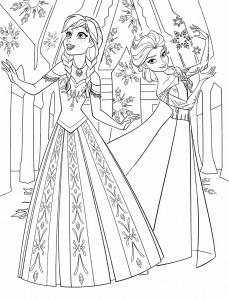 Coloriage reine des neiges anna et elsa avec robes magnifiques