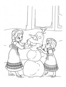 Coloriage reine des neiges anna et elsa petites fabriquant olaf