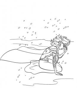 Coloriage reine neige disney tristesse