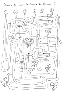 Labyrinthe Coeurs free to print