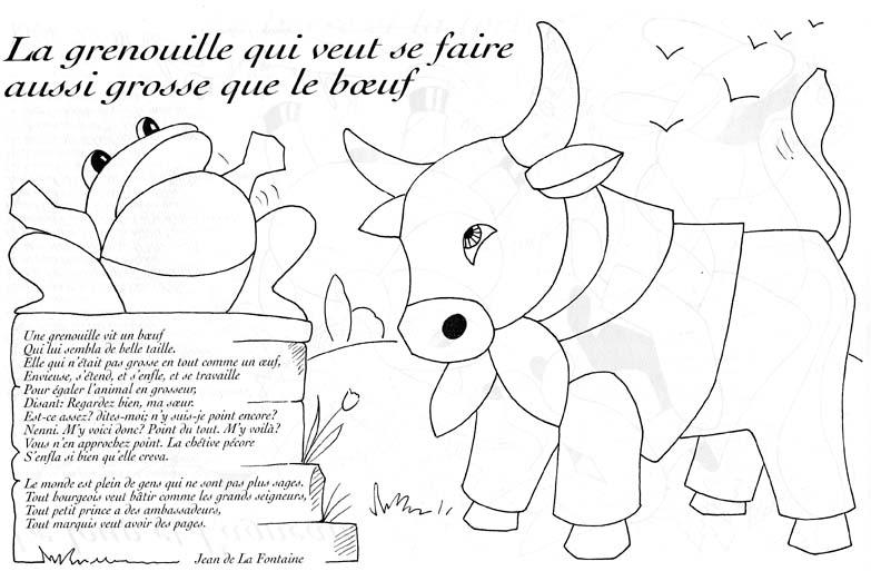 Grenouille boeuf lafontaine coloriage les fables de - Grenouille a colorier ...